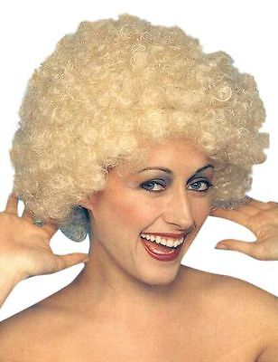 Kath Permed Blonde Short Curly Afro 1970s Fancy Dress Halloween Costume Wig