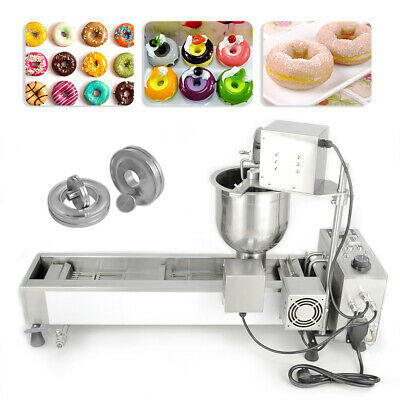 Automatic Donut Maker Making Machine Wide Oil Tank 3 Sets Mold 220V Commercial