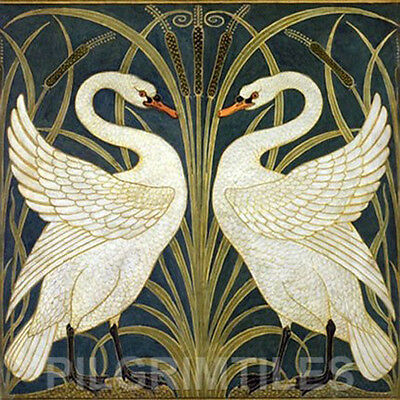 Metric Porcelain Tile Walter Crane Swans Black Walls Floor Kitchen Bathroom