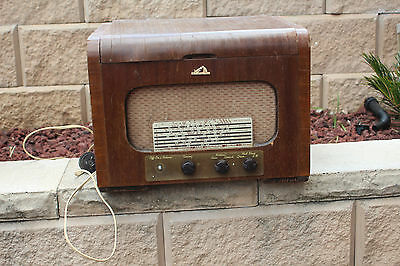 Vintage Rare HMV His Masters Voice Wooden Timber Record Player radio