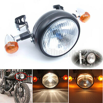 35W Moto phare LED Headlight Lampe 2x Feu clignotants Optiques Support Pr Harley