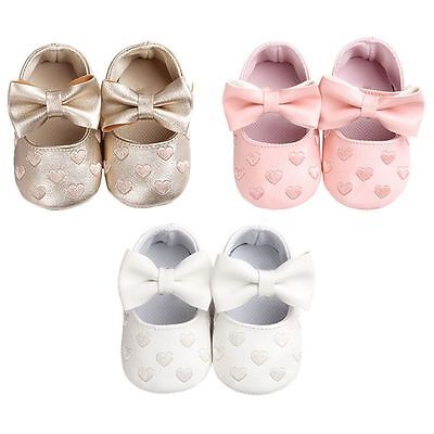 Toddler Baby Girl Crib Shoes Infant Bowknot Soft Sole Prewalker Sneakers 0-18M