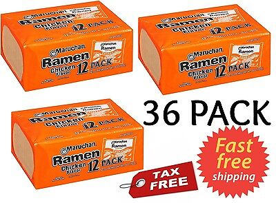 Maruchan Ramen Noodle Soup Chicken Flavor 3 oz Pack of 36 - FREE FAST SHIPPING