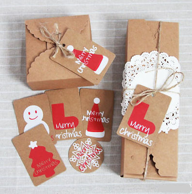50PCS Mix 5 Style Brown Kraft Paper Christmas Gift Parcel Tags Label Luggage
