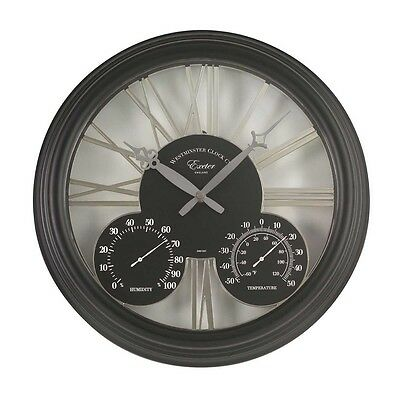"""Smart Garden Exeter Wall Clock, Thermometer & Humidity Gauge 15"""" - Black"""
