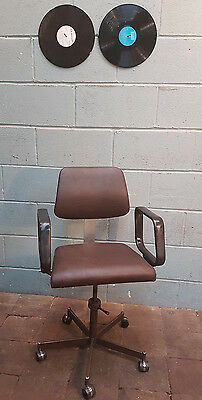 Vintage Swivel Chair Industrial Chair Brown Leather FREE MANCHESTER DELIVERY