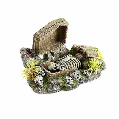 Air Operated Coffin & Skeleton Aquarium Ornament Spooky Scary Grave Decoration