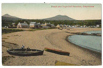 GREYSTONES Co Wicklow, Beach & Sugar Loaf Mountain Postcard by Valentine, Unused