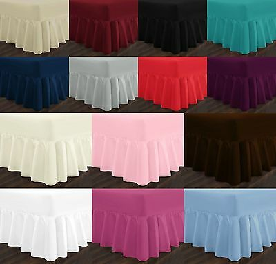 Plain Dyed Fitted Valance Sheet PolyCotton Bed Sheet Single Double King SK Sizes