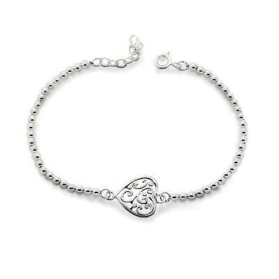 Genuine 925 Sterling Silver (not plate) 3mm  Ball Bracelet with Filigree Heart
