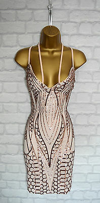 ~HAZEL~ Nude & Gold Sequin Lace Bodycon Evening Mini Slip Party Dress 8 10 12 14