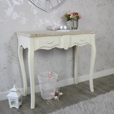 Cream Wooden Console Dressing Table 2 Drawers Shabby French Chic Bedroom Hallway