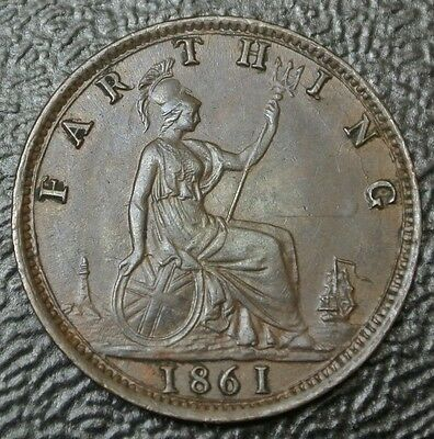 1861 GREAT BRITAIN - FARTHING - COPPER - Victoria - Nice HIGH GRADE