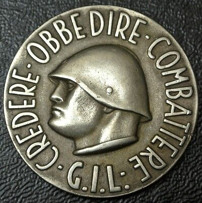 ITALY WWII Fascist Badge Youth GIL MEDAL - Mussolini - Johnson, Milano - RARE