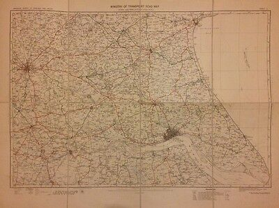 Large Antique Linen Backed Map Of York And Kingston Upon Hull, 1923