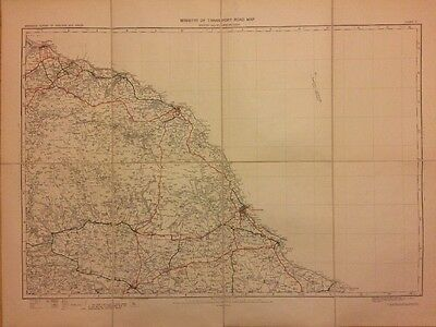 Large Antique Linen Backed Map Of Whitby, Scarborough And Surrounding Area, 1923