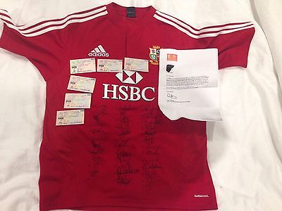 Super Rare Adidas Signed Lions Rugby Jersey Strip South Africa 2009 With Tickets