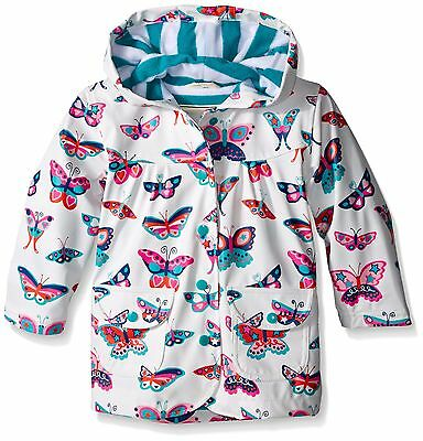 Hatley Girl's Electric Butterflies Raincoat Multicoloured (White) 3 Years NEW