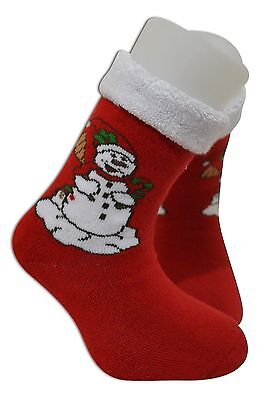 Christmas socks kids toddler soft terry thermal 90% Cotton 5 to 6 years