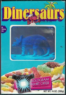 1988 Ralston Dinersaurs cereal box with HOLOGRAM triceratops cover, prize inside