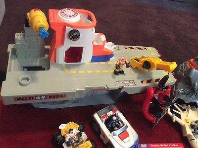 """Fisher Price Micro Adventure Mini Tiny Small 2"""" Rescue Heroes Figures Space Boat"""