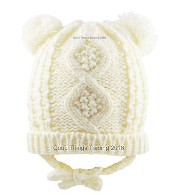 Baby Hat Knitted Winter Pom Pom Bobble With Ears Chin Tie Boy Girl 6-12 12-18 M