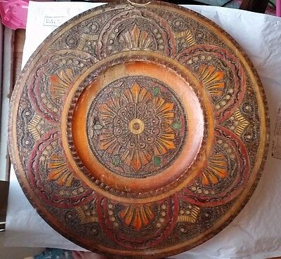 Antique Hand Carved with Copper Inlay Beautiful Wood Large Tray