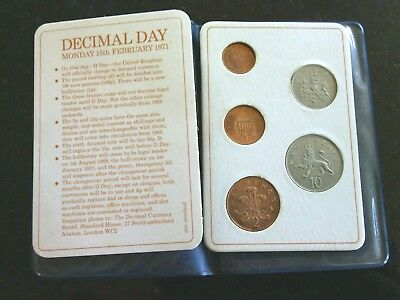 Britain's First Decimal Coin Set Plastic Wallet 5 Coins Pence Shillings Gift UK