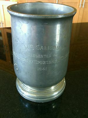 HMS Salisbury 1941 Pewter Beer Mug TW & Co Manor Period Sheffield Stein England