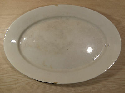 "ANTIQUE Large White Oval Platter- ROYAL IRONSTONE CHINA WARRANTED- 17.5"" x 11.75"