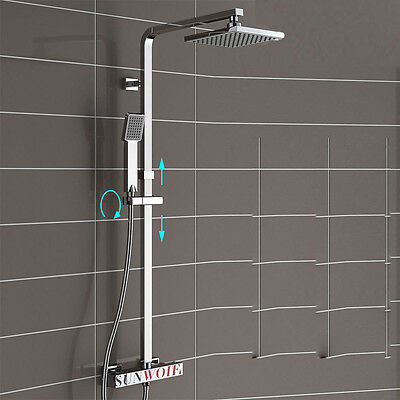 Square Thermostatic Valve Overhead Shower Mixer Bar Bath Chrome Twin Head Kit UK