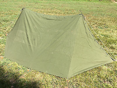 US Army Military Pup Tent 2 Shelter Halves w/ Poles & Stakes - H3016