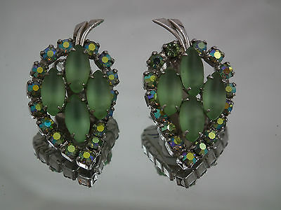 Signed CONTINENTAL Clip Earrings GREEN LEAVES Aurora Borealis