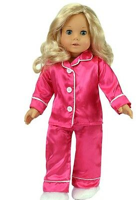 """Doll Clothes 18"""" Satin Hot Pink Pajamas Slippers Fits American Girl Dolls"""