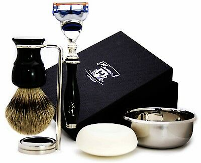 Shaving Set Of 5 (Sliver Tip Badger Hair Brush,Razor, Stand/Holder,Bowl & Soap)