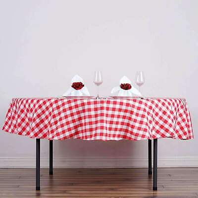 90 in. Round Polyester Checkered Seamless Tablecloth - Wedding Party Banquet
