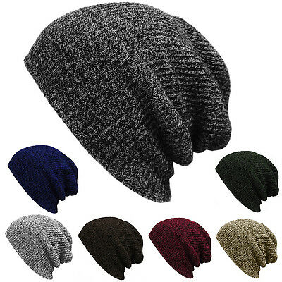 Plain Beanie Knit Hat Mens Women's Winter Warm Cap Slouchy Solid Skull Hat Cuff