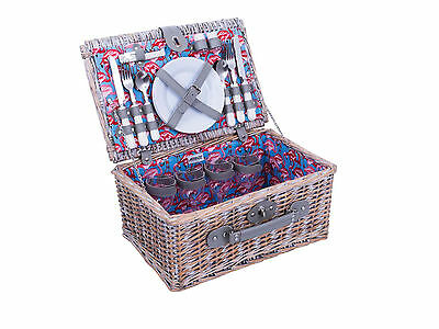 Avanti 4 Person Half Willow Picnic Basket Set - Washed Willow Flamingo Pattern