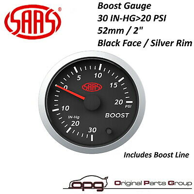 "SAAS STREET SERIES BOOST 52MM 2""  30 In-Hg > 20 PSI GAUGE BLACK FACE 7 COLOURS"