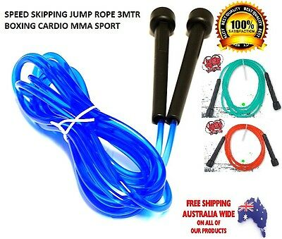 Speed Skipping Rope Fitness Plastic Grip Boxing MMA Sports Training 3Meter