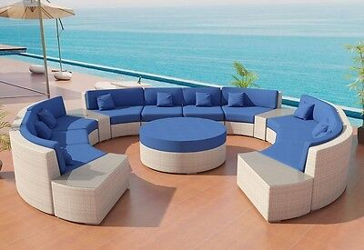 Patio Furniture Ilios Round Outdoor Wicker Sectional Sofa Set Viro
