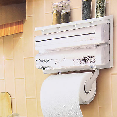 Plastic Wall Mounted Kitchen Paper Roll Towel Holder Stand Rack Dispenser