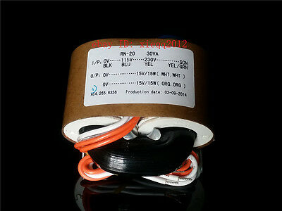 High-End 30W / 30VA R-Core Transformer IN 115V / 230V / OUT 15V+15V