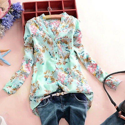 UK 8-26 Ladies Women V Neck Floral Casual Long Sleeve Chiffon Top Shirts Blouse