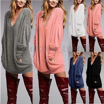 UK Womens Loose Pullover V-neck Long Sleeve Top Blouse Casual T-Shirt Jumper Tee