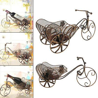 Wine Shelf Champagne Rack Antique Iron Tricycle Shape Bar Kitchen Home Decor New