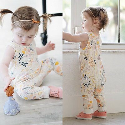 Baby Girls Lace Bodysuit Floral Romper Jumpsuit Outfits Print Climbing Clothes