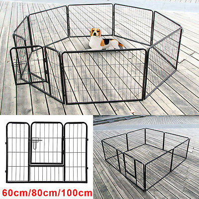 8 Side Up to 1m Tall Heavy Duty Pet Whelping Play Pen Dog Puppy Cage Crate Run
