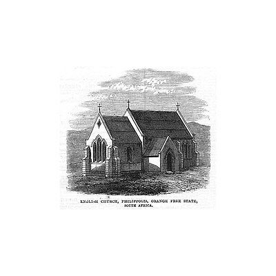 SOUTH AFRICA English Church at Philippolis Orange Free State -Antique Print 1868