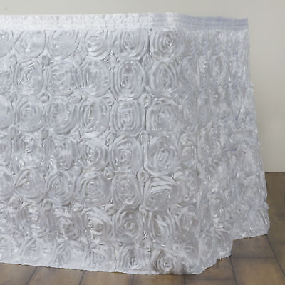 21' White SATIN ROSES TABLE SKIRT Tradeshow Wedding Party Catering Supplies